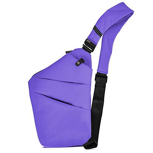BROADREAM Umhängetasche Lila ,Schultertasche,Anti-Diebstahl, Sling Bag,Brusttasche ,Herrentasche Klein,Schultertasche Klein für Damen und Herren