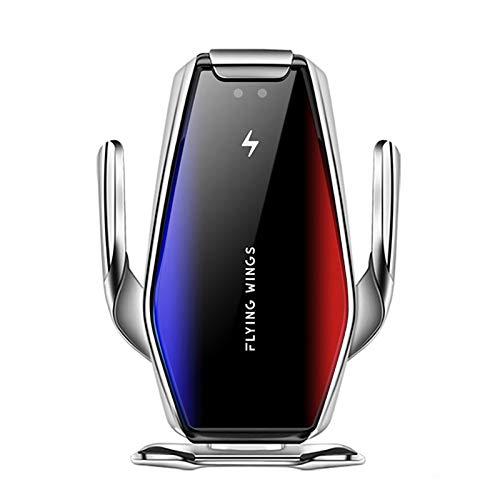 FDGAO - Soporte inalámbrico para cargador de coche, 15 W, Qi, inalámbrico, con sensor de infrarrojos, sujeción automática, soporte de ventilación para iPhone 12/12 Pro/11/Xs/X/XR/8, LG/Samsung S20/S10/S9/Note 10/9