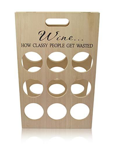 Chiccie Wijnflessenhouder voor 9 flessen van hout, 47 cm, met tekst - wijnrek, wijnrek, flessenrek