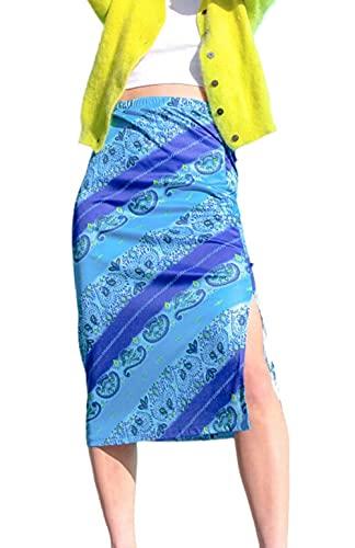 KINGVON Falda de verano de las mujeres de la moda de cintura alta Midi falda una línea bodycon larga lápiz falda Y2K Streetwear E-Girl 90S moda