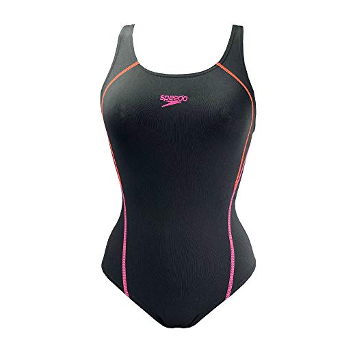 Speedo Graphic Panel Muscleback Womens dames zwembroek pak zwart/roze