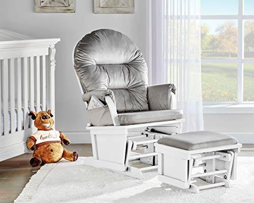 Suite Bebe Madison Glider Rocker and Ottoman, White and Light Grey