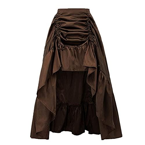 Mujer Falda Retro Volantes Sólido Ajustable Alta Baja Falda Cintura Elástica Gótico