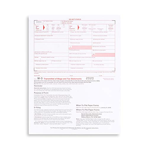 W3 Transmittal Tax Forms 2020, 10 Form W-3 Summary Laser Forms for Transmittal of Wage and Tax Statements, W-3 Forms, Compatible with QuickBooks and Accounting Software, 10 Pack