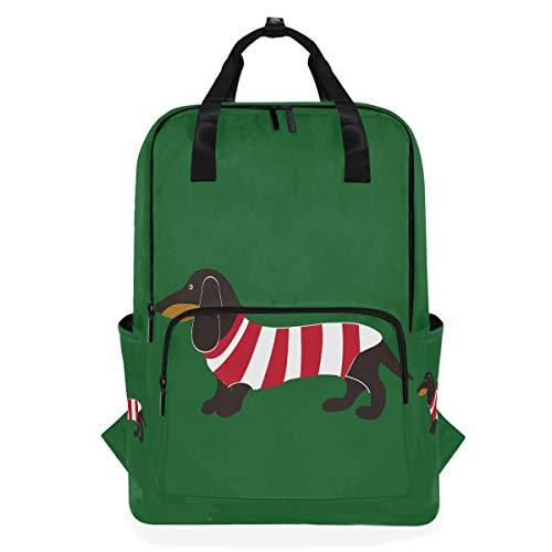 Rucksack Tier Dackel In Streifen Hund Schultaschen Casual Leinwand Multifunktions Daypack Rucksack Laptoptasche für Studenten Mädchen Jungen Mann Frau