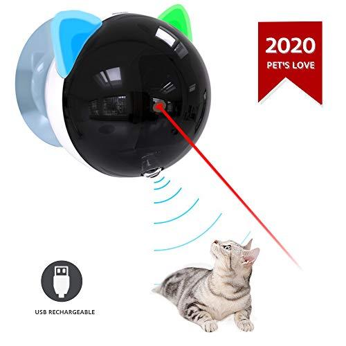 Festnight Katzenspielzeug Elektrisch, Automatische Katzenspielzeug USB wiederaufladbare Red Dot LED Pointer rotierenden beweglichen elektronischen Stift LED-Licht interaktive Katze Chase Spielzeug