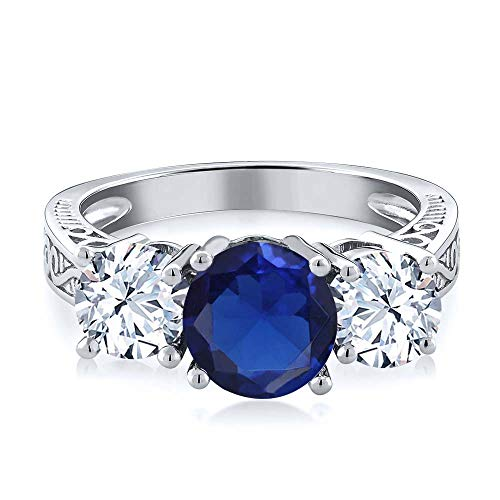 3.17 Ct Round Blue Simulated Sapphire 925 Sterling Silver 3-Stone Ring