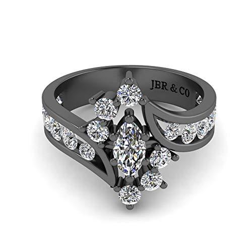Jbr Bypass Marquise alrededor redondo S925 Anillo de boda con circonita cúbica de diamante blanco solitario anillo de compromiso compromiso compromiso aniversario con caja de regalo