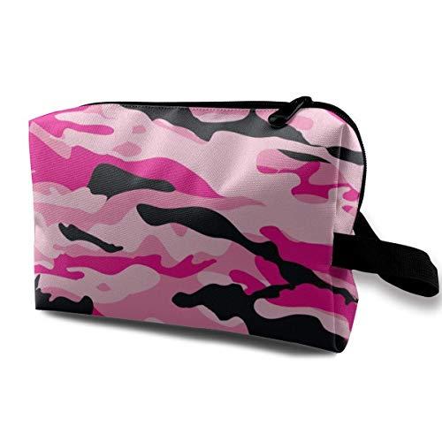 Militair Leger Camo Camouflage Zwart Roze Make-up Case Vrouwen Reizen Make-up Train Case Pouch - Multifunctionele Clutch Bag Pen Bag Houder, Draagtas voor Cosmetica Sieraden Eyeliner, Trip, Munt