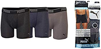 PUMA Performance Boxer Brief Tag Free Active Air Ventilated Mesh Technology Moisture Wicking  Black-Grey-Black Large
