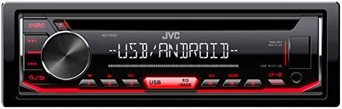 JVC KD-T402 CD-Autoradio mit RDS (Hochleistungstuner, USB, AUX-Eingang, Android Music Control, Bass Boost, 4x50 Watt, Rot) Schwarz