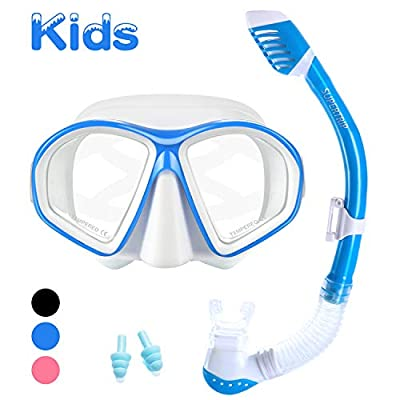 Supertrip Kids Snorkel Set-Scuba Dry Top Diving Mask Anti-Leak Impact Resistant Panoramic Tempered Glass Easybreath Snorkeling Packages Professional Swimming gear for Youth Boys and Girls (White blue)