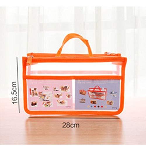 Sac de Rangement à Double Sac à Fermeture à glissière cosmétique Sac de Stockage de Porte-Monnaie Voyage Sac de Maquillage Transparent (Color : Orange)