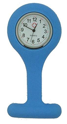 Boolavard Mode Silikon Krankenschwestern Brosche Tunika Taschenuhr neu mit Batterie TM. (1 - Sky hellblau)