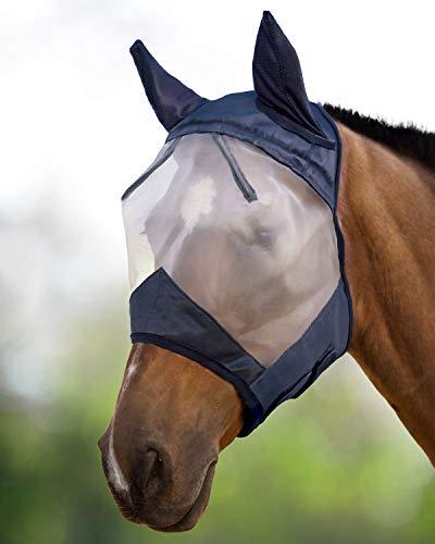 Harrison Howard CareMaster - Máscara antimoscas con protección para los oídos, color negro y plateado