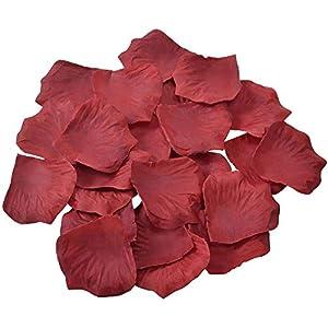 KnR Harmony Rose Petals Dark Red 1200pcs Artificial Flower Silk Petals for Romantic Night Wedding Table Confetti Scatter Bridal Shower Valentine's Day Decoration