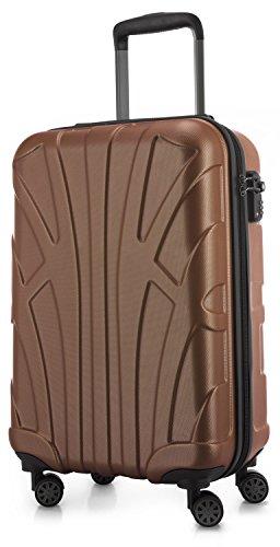 Suitline Handgepäck Hartschalen-Koffer Koffer Trolley Rollkoffer Reisekoffer, TSA, 55 cm, ca. 34 Liter, 100% ABS Matt, Cappuccino Braun