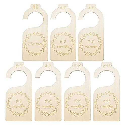 7 Stück/Set Schrank-Trennwände Holz Garderobe Trennwände Baby-Stoff-Organisatoren Baby Kleiderschrank Teiler Unisex Kleiderschrank Teiler für Sortieren von Baby Kleidung, Kinderzimmerdekore