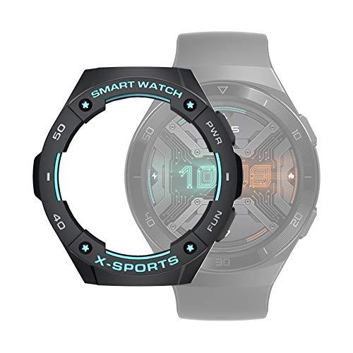 WATCHCASE/para Huawei Watch GT2E Smart Watch TPU Funda Protectora, Color: Negro + Gris Azul, La decoración de la Moda Protege el Marco del re
