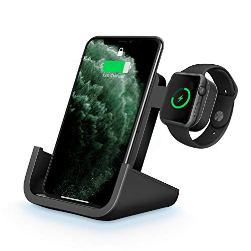 Wireless Charger, Yuwiss 2 in 1 Dual Wireless Charging Dock Station with iWatch Stand for iWatch 5/4/3/2/1, Fast Charger for iPhone 12/12Pro/12mini /11 Pro Max/XR/XS Max/XS/X/8/8P