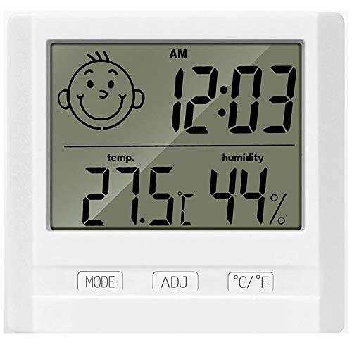 e-smile 室温計 温湿度計 赤ちゃん 温度計 湿度計デジタル時計 置き 卓上 壁掛け LCD大画面 壁掛け&卓上スタンド兼用 健康管理 顔文字でお知らせ 熱中症予防 多機能デジタル温湿度計 白