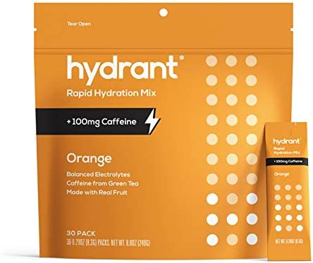 Hydrant ENERGY Orange Flavor 30 Stick Pack Caffeine L Theanine Rapid Hydration Mix Electrolyte product image