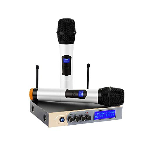 Wireless Microphone ARCHEER Karaoke UHF Bluetooth Dual Channel Microphone System with LCD Display, Handheld Microphone with Karaoke Mixer for Home Party, Karaoke, Meeting, Outdoor Wedding