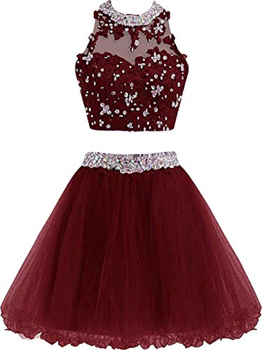 XIA Women's Two Piece Homecoming Dress Cute Lace Prom Dress for Junior Short Ball Gown Bridesmaid Dresses Applique Burgundy