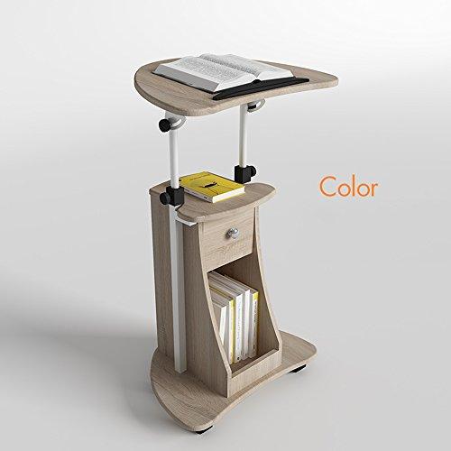 FEI Siège mobile réglable de bureau d'ordinateur portable de support de taille réglable de Sit-to-Stand avec le bureau de stockage 4 couleurs (Couleur : Couleur chêne)