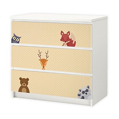 nikima – 014 möbelfolie för IKEA MALM – skogsdjur 2 poäng – 3 lådor dekal klistermärke självhäftande folie (möbler ingår ej)