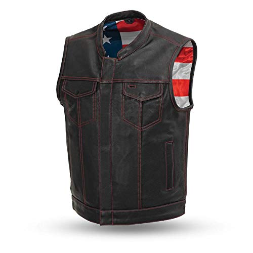 First Manufacturing Men's Leather Motorcycle Vest with Gun Pockets Solid Back Hidden Zipper American Flag Liner (XL) Black