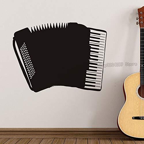 Tianpengyuanshuai Hueco Decorativo acordeón Adhesivo de Pared Negro Instrumento Musical calcomanía 84X63cm