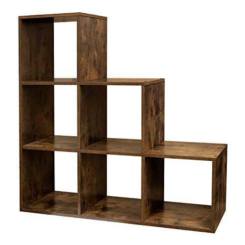VASAGLE Treppenregal, Bücherregal mit 6 Würfeln, Leiterregal, Würfelregal, freistehendes Regal, Raumteiler, für Büro, Wohnzimmer, Schlafzimmer, Vintage, Dunkelbraun LBC63BX