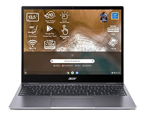 Acer Chromebook Spin 713 - Ordenador Portátil 2 en 1 Convertible y Táctil 13.5 QHD IPS (Intel Pentium Gold 6405U, 8GB RAM, 128GB SSD, Intel UHD Graphics, Chrome OS), PC Portátil Gris - QWERTY