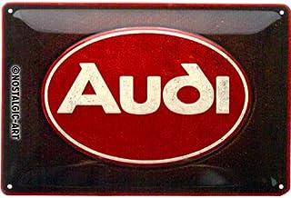 Nostalgic-Art Retro Blechschild Audi – Logo Red – Geschenk-Idee für Auto Zubehör Fans, aus Metall, Vintage-Design zur Dekoration, 20 x 30 cm