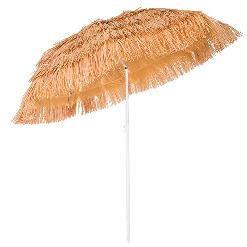 Kingsleeve Ombrellone da spiaggia Hawaii in rafia sintetica Ø 160cm Altezza: 180 cm inclinabile e regolabile in altezza ecrù