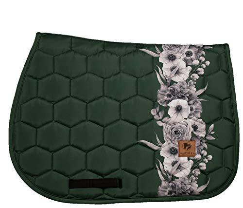 DotiBel Tapis de selle en vert forêt foncé avec une bande élégante de fleurs blanches et grises (Full-VS/GP)