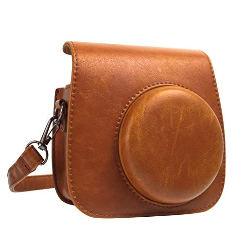 QUEEN3C Classic Vintage PU Leather Compact Mini 9 Camera Case Bag with Adjustable Strap for Fujifilm Instax Mini 9 Mini 8 Mini 8+ Instant Camera. (Brown)