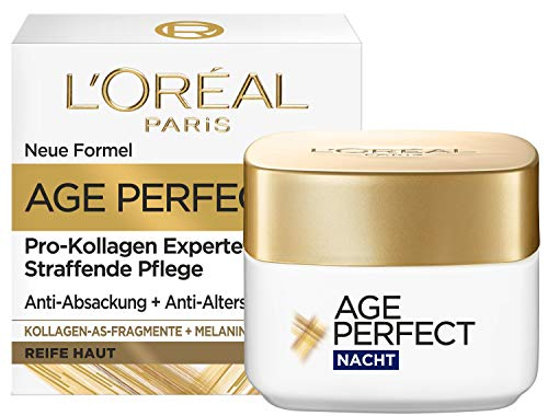 L'Oréal Paris Straffende Nachtpflege für reife Haut, Anti-Aging Feuchtigkeitspflege gegen Altersflecken, Mit Kollagen-AS-Fragmenten, Age Perfect Pro-Kollagen Experte, 50 ml