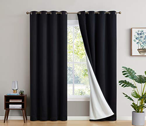 HLC.ME 100% Complete Full Blackout Lined Drapery with Thick Heavy Double Layer Thermal Insulated Soundproof Long Window Curtain Grommet Panels for Bedroom & Living Room, 2 Panels (52 W x 96 L, Black)