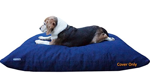 Dogbed4less Do It Yourself DIY Pet Bed Pillow Duvet Denim Cover with Waterproof Internal case for Dog or Cat, Medium 36'X29' Blue Color - Covers only