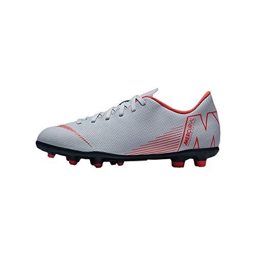 Nike Jr Vapor 12 Club GS FG/MG, Zapatillas de fútbol Sala Unisex Adulto, Multicolor (Wolf Grey/Lt Crimson/Black 060), 37.5 EU
