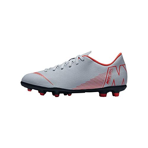 Nike Jr Vapor 12 Club GS FG/MG, Zapatillas de fútbol Sala Unisex Adulto, Multicolor (Wolf Grey/Lt Crimson/Black 060), 37.5 EU