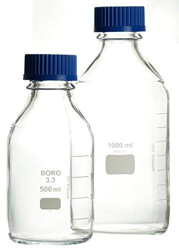 Laborflaschen 500ml GL45 ECONOMY weiß graduiert mit PP-Schraubkappe und Augussring, hergestellt aus Borosilikatglas 3.3, komplette Verpackungseinheit