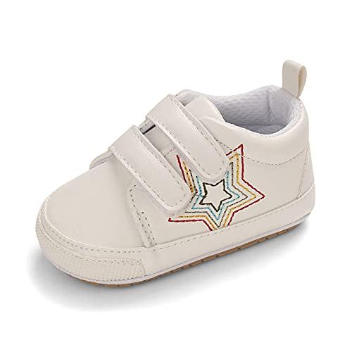 Cheerful Mario Primeros Pasos Bebé Oxford Zapatos para Niñas Niños Antideslizante Suela Blanda Blanco 12-18 Meses