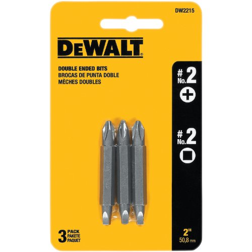DEWALT DW2215 #2 Phillips and #2 Square Recess Double Ended Screwdriver Bit (3-Pack)