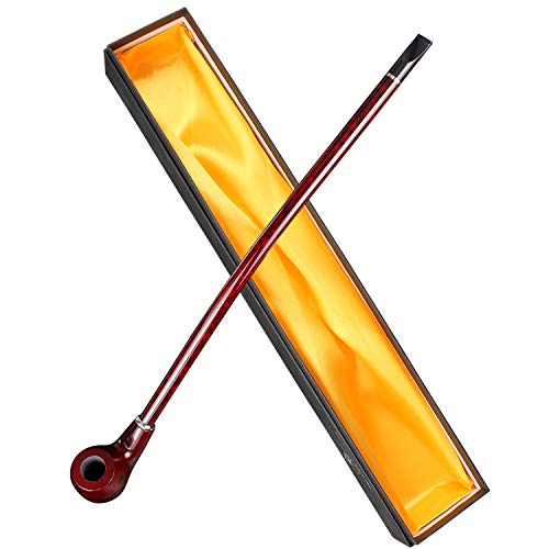 Hysagtek Long Churchwarden Tobacco Pipe Wooden Long Stem Smoking Pipe with Gift Box, Pattern Random