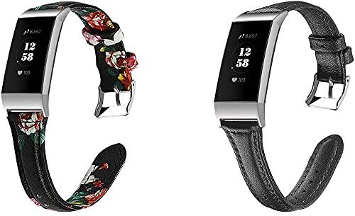 Gransho Piel Correa de Reloj Compatible con Fitbit Charge 4 / Charge 4 SE/Charge 3 SE/Charge 3, Correa/Banda/Pulsera/Recambio/Reemplazo/Strap de Reloj (2-Pack G)