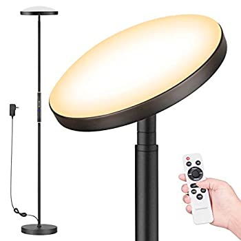 Floor Lamp Colorsmoon 2200LM Super Bright Sky LED Torchiere 5 Color Temperature Dimmable Tall Standing Light with Remote Control for Living Room Bedroom Office  Black