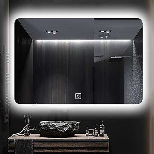ZCZZ Espejo de baño Iluminado con luz LED Espejo de tocador de Maquillaje retroiluminado montado en la Pared con Sensor táctil, sin Borde, luz Blanca/luz cálida